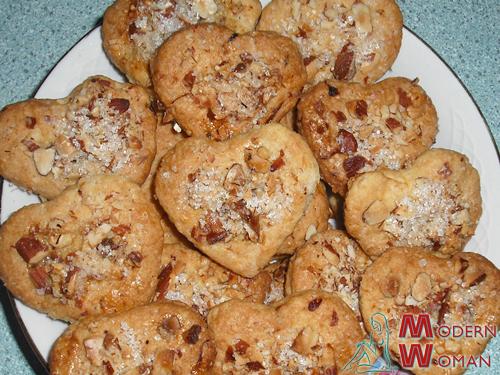 печенье с миндалем Сердечки