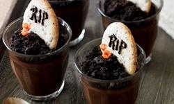 Блюдо на Хэллоуин - Шоколадный крем Надгробье